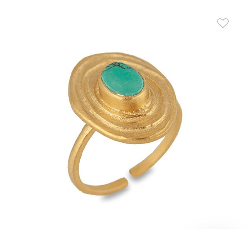 CAIRO MATT GOLD/TURQUOISE ADJUSTABLE RING - BIANC JEWELLERY
