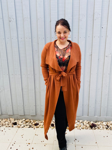 RANIA- RUST LONG CARDIGAN