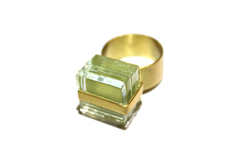 ROSA MENDEZ-NEW YORK WRAP GLASS RING- CLEAR