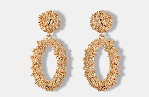 TINA GOLD- LARGE OVAL GEOMETRIC DROP EARRINGS