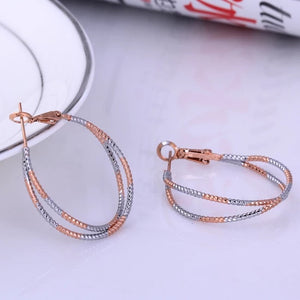MOONWALK - 2 TONE SILVER GOLD HOOPS