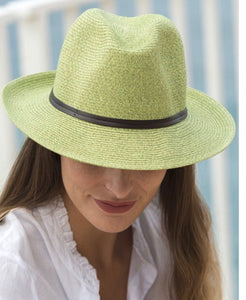 BORSALINO-LIGHT GREEN PAPER FABRIC HAT