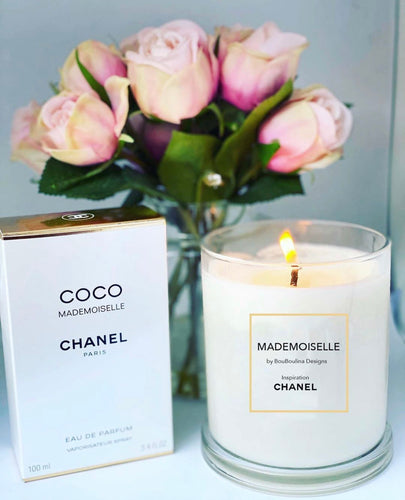 DESIGNER MADEMOISELLE INSPIRED BY CHANEL SOY CANDLE- BY BOUBOULINA DESIGNS