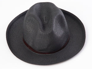 BORSALINO-BLACK PAPER FABRIC HAT
