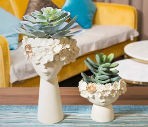 PROTEA- PLANTER AND FIGURINES- 3 COLOURS