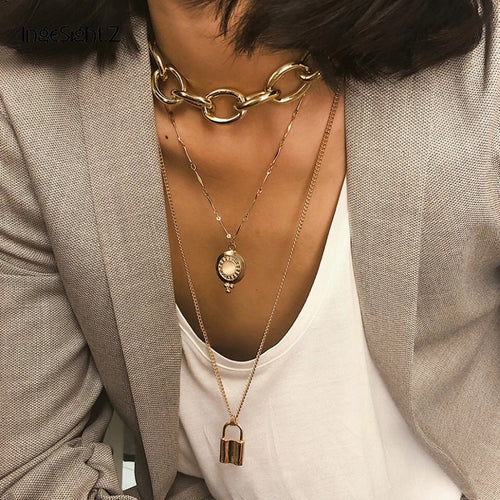 VERSIY- CHAIN LINK PENDANT CHOCKER NECKLACE