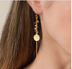 BIANC- LUMIERE Disc and Stone Drop Earrings
