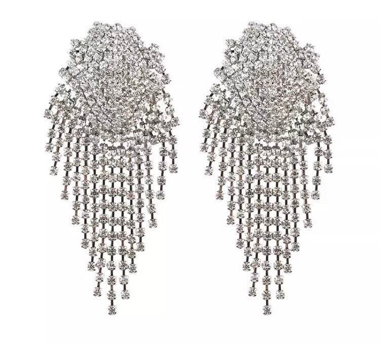 DIA- RHINESTONE CLUSTER DROP EARRINGS
