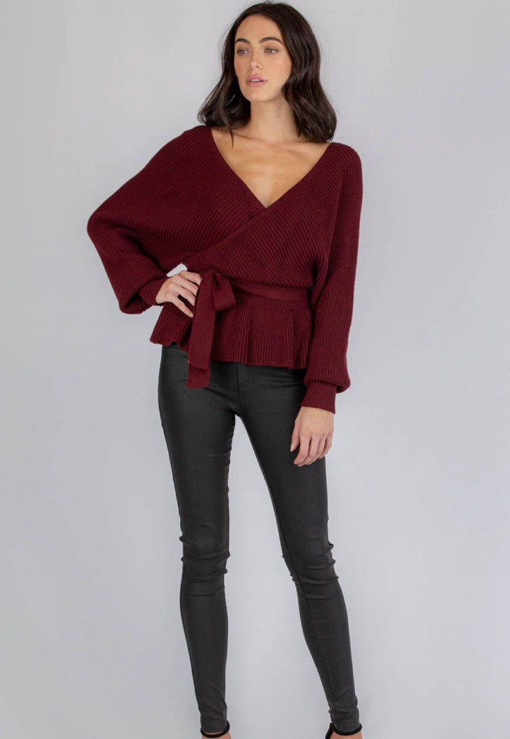 PINOT NOIR- WINE V NECK KNIT FRONT & BACK