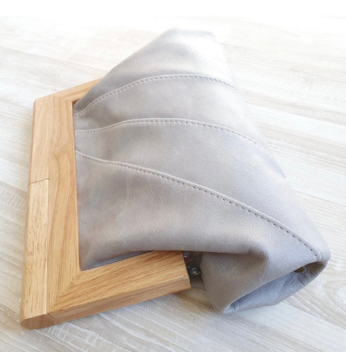 MOY TASMANIA STONE GREY LEATHER CLUTCH