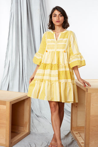 JAIPUR DRESS- YELLOW BLOCK PRINT DRESS