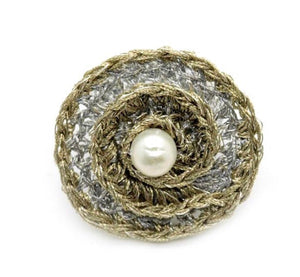 HELI- GOLD and SILVER THREAD PEARL RING