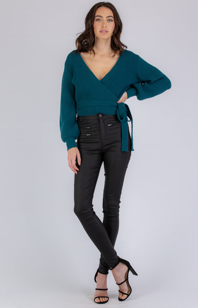TEALY-WRAP AROUND LOOK KNIT - TEAL