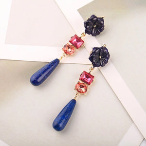 NIA- FLOWER CRYSTAL & NATURAL STONE DROP EARRINGS