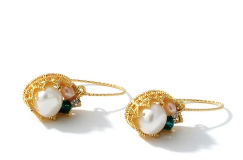 CROWN FILLED PEARL DROP EARRINGS