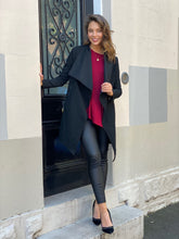 AMALIA- BLACK WATERFALL LAPEL JACKET
