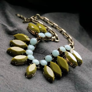 WHEN THE OLIVE MET THE SEA- STATEMENT NECKLACE