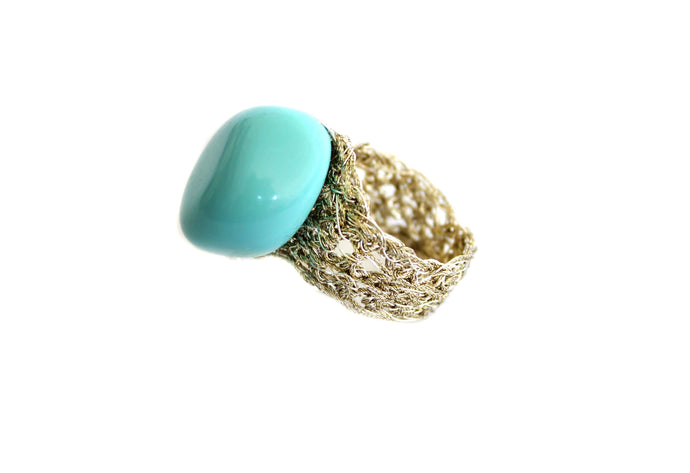 NIKI-BLUE HOWLITE GOLD THREAD RING