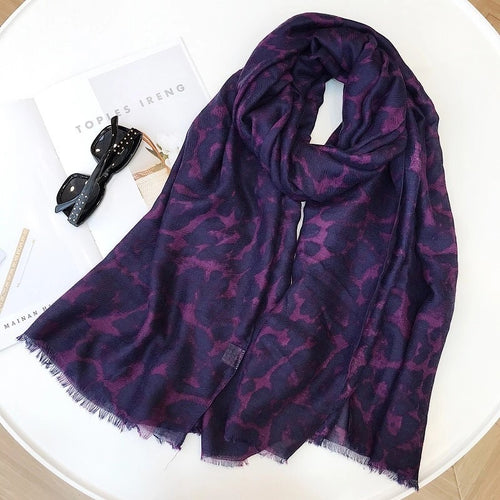 LEOPARD SCARF - EGGPLANT