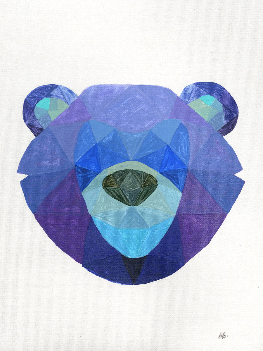 purple geometric bear face painting giclee print