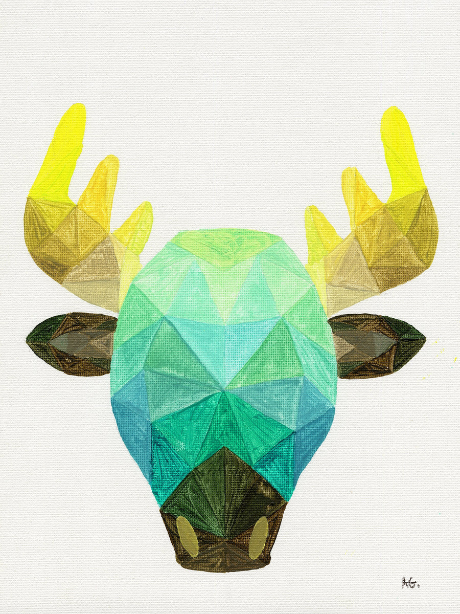 green geometric moose painting print