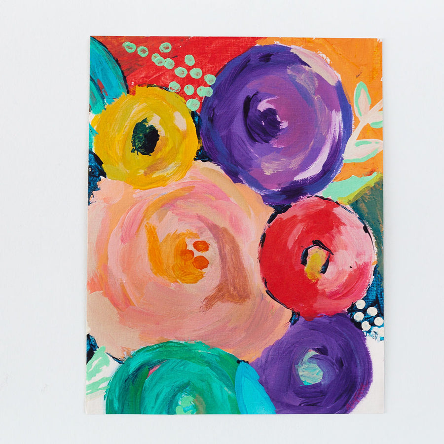 colorful abstract flower painting print