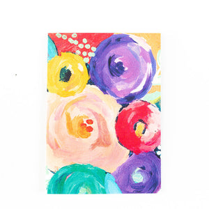 colorful abstract flower painting print card
