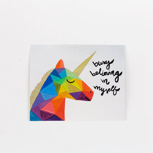 geometric colorful unicorn painting card busy believing in myself