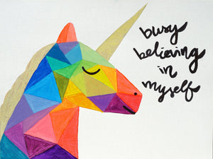 Busy Believing Unicorn Card