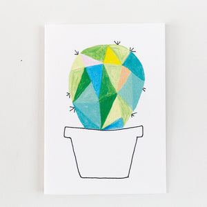 green geometric cactus painting card
