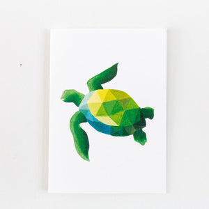 green geometric turtle painting print on a white card
