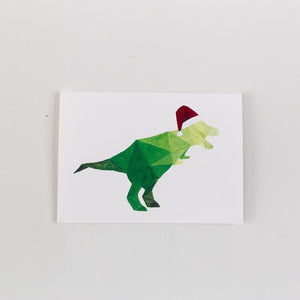 green geometric t rex dinosaur with santa hat painting print card