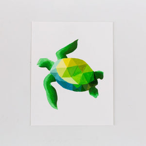 green geometric turtle painting print on white