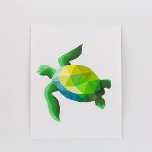 green geometric turtle painting print on a white