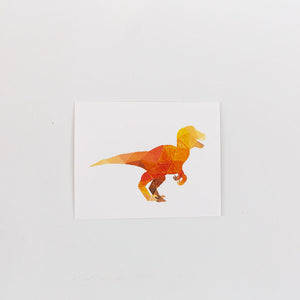 orange geometric raptor painting print