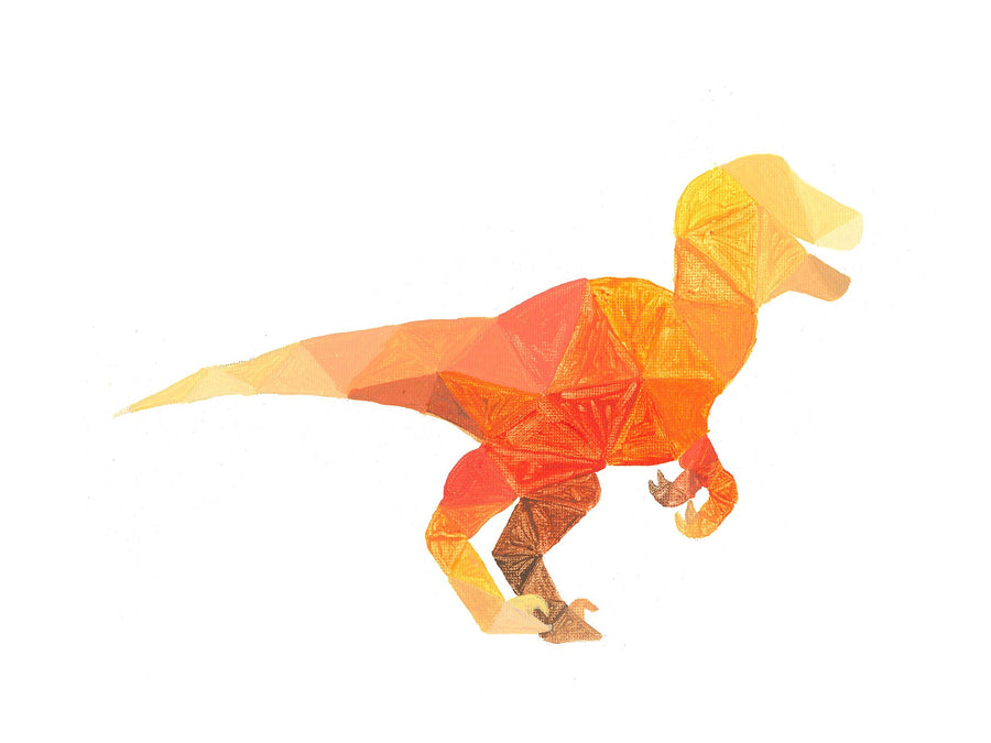 orange geometric raptor painting print on a white card