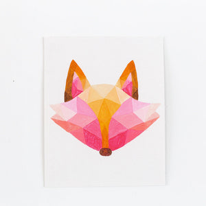 pink geometric painting fox print