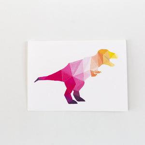 pink geometric painting fox t rex dinosaur painting print card