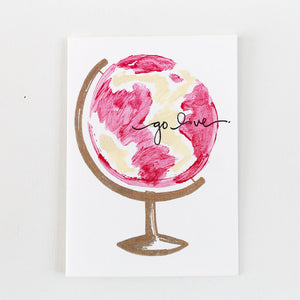 inspirational card go live pink world painting print card