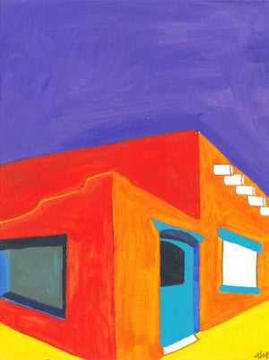 a fine art giclee print of a colorful painting of a red adobe house with a blue door purple sky and yellow ground