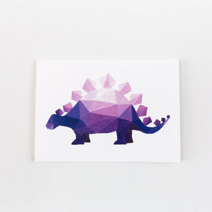 purple geometric stegosaurus painting card