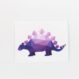 purple geometric stegosaurus painting on white