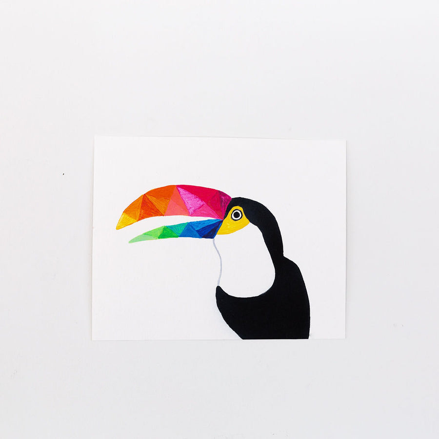 colorful geometric toucan painting print