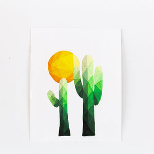 green geometric cactus and sun painting print