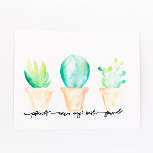painting of three watercolor succulent plants on a white card
