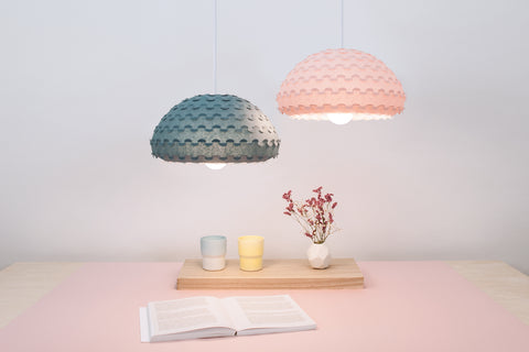 Blue and Pink Lamp Shades from Kasa Lighting Collection made in Japan by 24d-studio