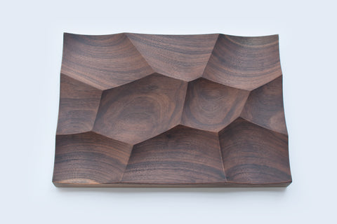 Large walnut sculptural tray Storm L made by 24d-studio