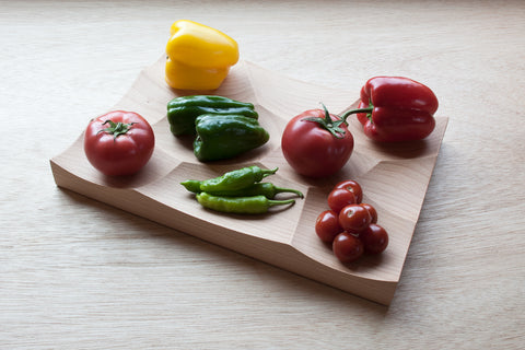 Large Storm Tray in Beech wood is perfect as a vegetable display solution.