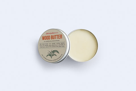 24d-studio natural wood butter for conditioning wood products made with plant extracted oil and beeswax