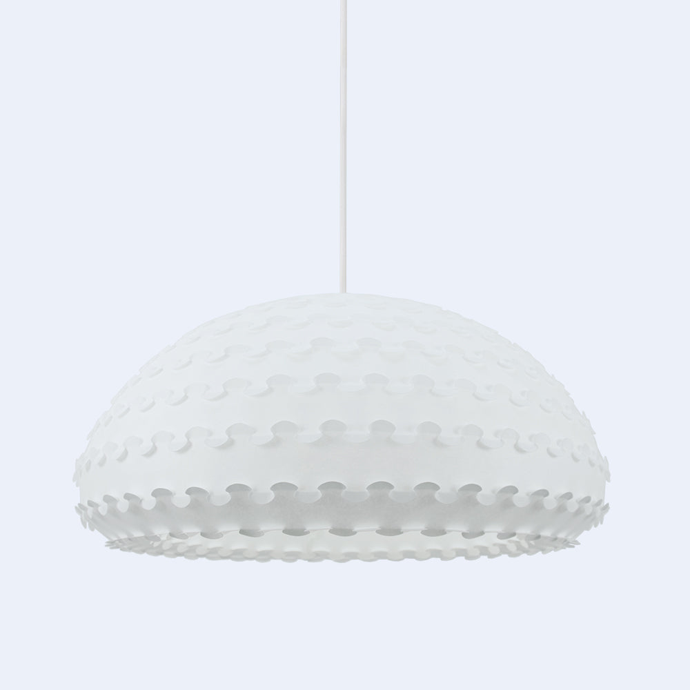 Large White Bell-Shaped Kasa Pendant Lamp by 24d-studio